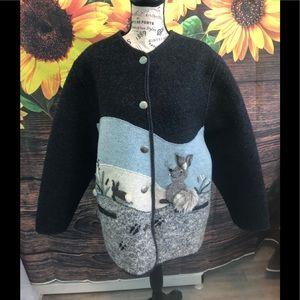 Giesswein Austria Wool Jacket Jackrabbit Appliqué